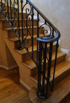 Sam's Iron Works specializes in beautifully crafted ornamental wrought Iron interior railings for the San Fernando Valley from Bakersfield to San Diego. Metal Stair Railing, Interior Stair Railing, Wrought Iron Stair Railing, Stair Railing Design, Stair Handrail, Wrought Iron Fences, Wrought Iron Beds, Exterior Stairs, Staircase Banister Ideas