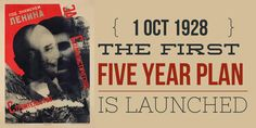1 October The First Five Year Plan is introduced by Stalin in Soviet Union Soviet Union, Black House, October, How To Plan, History, Historia