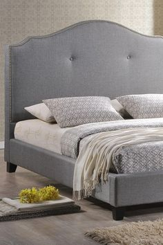 Marsha Scalloped Linen Modern Bed with Upholstered Headboard - Grey - King Size by W.I. Modern Furniture on @HauteLook    Materials  Linen, wood, foam  633