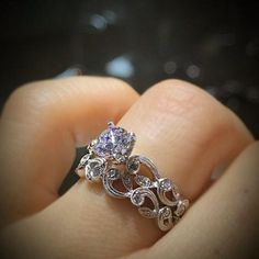 Simon G. Vintage Style Scrollwork Filigree Engagement Ring
