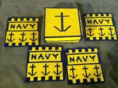 Navy Coasters- Made By You Monday- Plastic canvas Navy coasters, military coasters