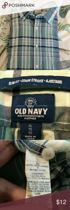Old Navy slim fit shirt Old Navy slim fit shirt. Mint and Navy. Size XL. Gently worn. Smoke free home! Old Navy Shirts Casual Button Down Shirts
