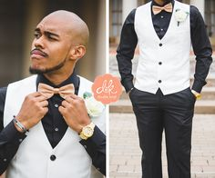 A unique combination of black and white with a light brown bow tie. We LOVE this look! #weddings #abilenetexas #groom