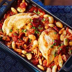 Chicken, butter bean and chorizo bake recipe. This chicken bake is the perfect winter warmer. Simply add a slice of crusty bread for added indulgence.