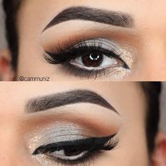 Gorgeous look for the day by @cammuniz , silver and gold speckles. Using anastasiabeverlyhills Dipbrow and Brow Wiz in Ebony. For the eyes, Creme Brulé, Frappe, Mocha, White Lies and Corrupt from makeupgeektv Lid is Ash by nyxcosmetics.