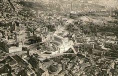 Foto storiche di Roma - Panorama. Vittoriano, Colosseo, Via dell'Impero Fendi, Rome, City Photo, Antiques, Photos, Antiquities, Antique, Rum, Rome Italy