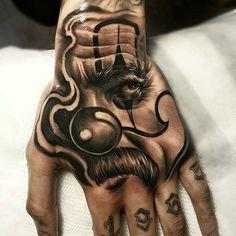 Best Hand Tattoos For Men: Cool Hand Tattoo Ideas, Badass Full Hand Tattoo Designs For Guys Chicano Tattoos Gangsters, Gangster Tattoos, Dope Tattoos, Leg Tattoos, Body Art Tattoos, Sleeve Tattoos, Dragon Tattoos, Full Hand Tattoo, Hand Tattoos For Women