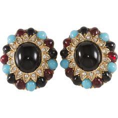 Ciner Jeweled Cabochon & Rhinestone Earrings
