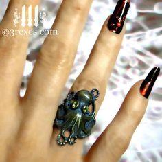3 Rexes Jewelry - Octopus Dream Ring Gothic Dark Brass (http://www.3rexes.com/octopus-dream-ring-gothic-dark-brass/) #octopus