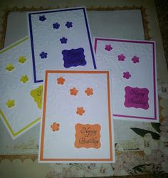 quick card set, SU embossing folder, punches and sentiment