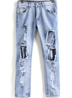 Pantalones vaqueros con rotos-azul 15.94