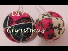 DIY Patchwork sin aguja. Como forrar una bola de tela. Adorno navideño. ...