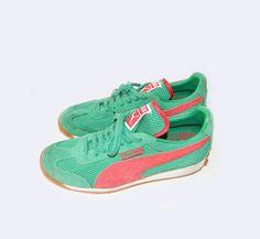 Vintage PUMA sneakers coral  amp  emerald colors by VintageAndLavish ec926988a16