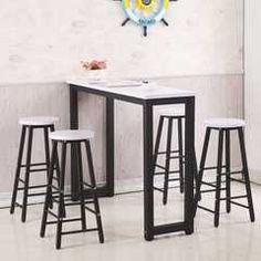 靠牆吧台桌家用簡約現代客廳小吧台桌椅鐵藝廚房簡易組合高腳桌凳