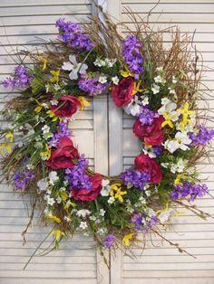 Spring Spiral Honeysuckle Wreath by Dunewooddesigns on Etsy, $40.00