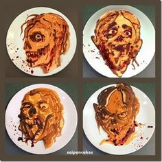These Zombie #Pancakes are Horrifying #Halloween Breakfast Ideas trendhunter.com