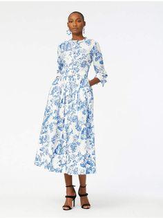 c333aee9a9 Oscar de la Renta Floral Toile Cotton-Poplin Shirtdress Shirtdress