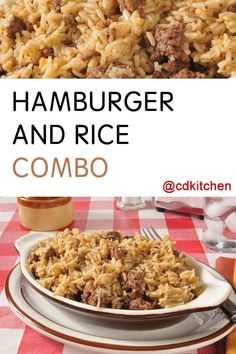 Hamburger And Rice Combo - This Easy Dinner Is Made With Browned Hamburger, Instant Rice, And Chicken And Rice Soup And You Can Throw It Together At A Moment's Notice For A Tasty And Filling Meal. Hamburger And Rice Recipes, Hamburger Dishes, Brown Rice Recipes, Easy Rice Recipes, Beef Dishes, Kraft Recipes, Hamburger Hotdish, Chicken Casserole, Combo Recipe