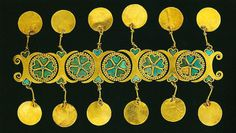 """ETHNIC JEWELLERY AND ADORNMENT"" - Ornament made of gold and turquoise, part of the Bactrian treasure found at Tillya Tepe, northern Afghanistan, Tomb II, 2nd quarter of the 1st century AD. Although it is spectacular and beautiful, the function of this does not seem entirely clear, in that it could have been used for more than one purpose"