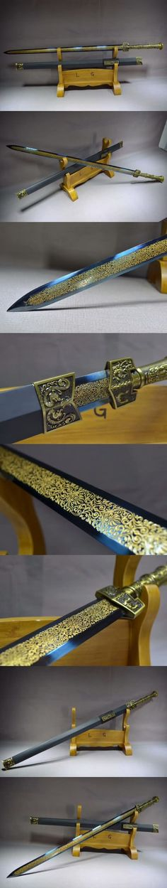 A sword with blue blade Swords And Daggers, Knives And Swords, Dragon Phoenix, Types Of Swords, Cool Swords, Sword Design, Cool Knives, Arm Armor, Fantasy Weapons