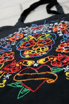 Canvas bag with day of the dead decorations