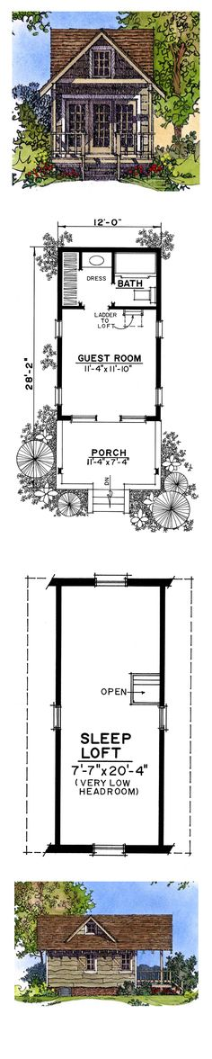 Tiny House Plan 86025   Total Living Area: 242 sq. ft., 1 bedroom and 1 bathroom. #houseplan #tinyhome
