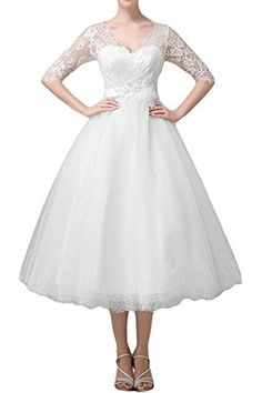 Abaowedding Women's Double V Neck Lace Up Short Tea Length Wedding Dress with Sleeves