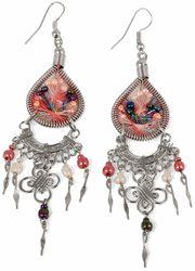 Stainless Steel Peruvian Peach Silk Thread Beaded Dangle Earrings
