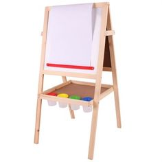 Bigjigs Toys Junior Art Easel with Chalks, Paint Pots, Paper Roll & Board Eraser Wooden Easel, Wooden Art, Wooden Toys, Kids Art Easel, Colored Chalk, Jr Art, Magnetic White Board, Creative Skills