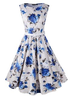 Hepburn Style 1950s Floral Rose Pattern Swing Circle Party Dress (US10, Blue Rose)