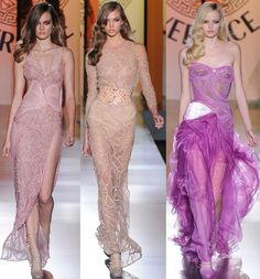 Versace gowns for fall 2012. I like the left and the middle. The one on the right has a few problems.