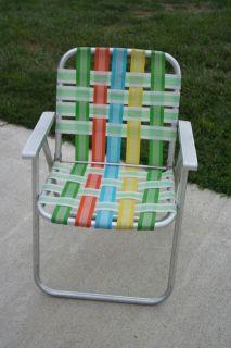 Vintage Retro Aluminum Framed Folding Lawn Chairs Rainbow Webbing ...