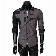 Moda Camisa Para Hombres personalidad Sólido Larga Mangas Hombres Camisa Playera - Gris - LOGin4600