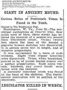 Giant Human Skeletons: Gigantic Human Skeletons Tomb in Central City, West Virginia