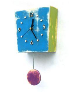 Pendulum clock Wall clock with pendulum Blue Wall Clock