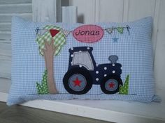 "Pillow - Cuddly pillow ""Tractor"" - a unique product by mein-Fridolini on DaW . : Pillow – cuddly pillow ""tractor"" – a unique product by mein-Fridolini on DaWanda Applique Cushions, Pillow Embroidery, Quilt Baby, Cute Pillows, Baby Pillows, Cloud Cushion, Farm Quilt, Cute Sewing Projects, Cushion Cover Designs"