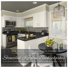Benjamin Moore's Color Trends Brochure started a DIY kitchen makeover trends when they featured Cutting Edge Stencils on a chic stenciled backsplash in a cool,...