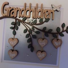 Your place to buy and sell all things handmade Girl Nursery, Nursery Decor, Christmas Box Frames, Family Tree Frame, New Grandparents, White Box Frame, Grandparent Gifts, Wooden Hearts, Baby Girl Gifts