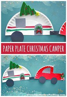 Paper Plate Christmas Camper - Kid Craft Idea - Christmas & Winter Crafts For Kids Preschool Christmas Crafts, Winter Crafts For Kids, Classroom Crafts, Christmas Activities, Christmas Projects, Christmas Themes, Kids Christmas, Holiday Crafts, Holiday Fun