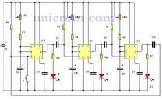 Secuenciador de eventos con 555 - Secuenciador de eventos es un v que utiliza el temporizador 555 y permite controlar una secuencia de eventos. Algo así como lo que haría un circuito digital secuencial, en donde un evento no empieza si no ha terminado el evento anterior.