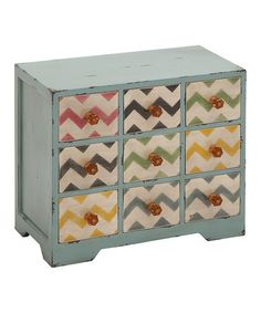 Love this Zigzag Nine-Drawer Jewelry Chest; too bad it's $70 (on sale!).  It would be perfect to hold paperclips, binderclips, etc. in my classroom!
