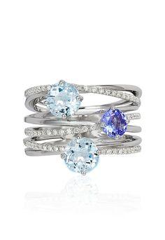 Effy Aquarius 14K White Gold Aquamarine, Tanzanite & Diamond Ring, 2.16 TCW - Pantone 2016 - Rose Quartz and Serenity - Pantone Color of the Year