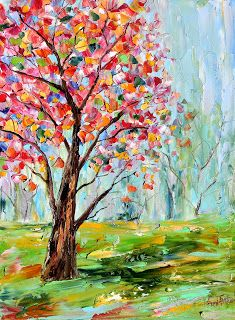 Karen Tarlton: Original oil painting Spring tree landscape by Karen Tarlton