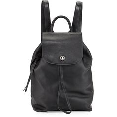 Tory Burch Brody Pebbled Leather Backpack ($495) ❤ liked on Polyvore featuring bags, backpacks, black, black bag, flap backpack, black drawstring backpack, black rucksack and flat backpack