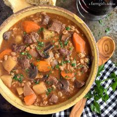 Slow Cooker Beef and Barley Stew • a farmgirl's dabbles