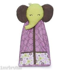 Carters Elephant Patches Girls Nursery Diaper Stacker Storage Purple 3 D Plush   eBay