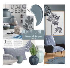 """Colour of the Year ~ Denim Drift"" by eyesondesign ❤ liked on Polyvore featuring interior, interiors, interior design, home, home decor, interior decorating, Anthropologie, David Trubridge, Kähler and TastemastersDesignGroup"