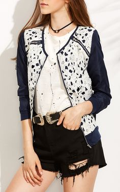 Embroidered Lace Jacket. $13.99 by Shein.