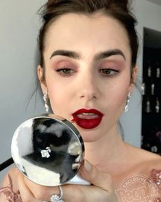"""5,931 Likes, 68 Comments - @fionastiles on Instagram: """"#FBF to the @goldenglobes last year with @lilyjcollins. So looking forward to the show this Sunday,…"""" Lilly Collins Makeup, Lilly Collins Red Hair, Lily Collins Bob, Lily Collins Eyebrows, Makeup With Red Lips, Red Lipstick Looks, Makeup Tips, Makeup Ideas, Makeup Goals"""