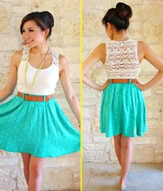 Green Dress With White Top